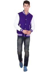 Purple Wool Body with White Leather Sleeves Varsity- Men
