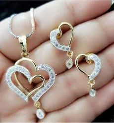 Necklace with Chain Gold Plated Heart Shape Jewellery