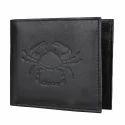 Cancer Zodiac Sign Embossed Black Mens Leather Wallet