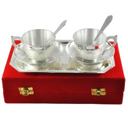 Silver Plated Tea Cup Saucer Set For New Year Gift