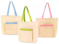 Color Strap Cotton Tote Bags