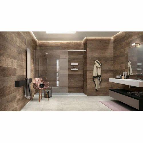 Beige Brown Glossy Bathroom Tile Rs 50