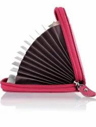 Pink Leather Multi Card Holder