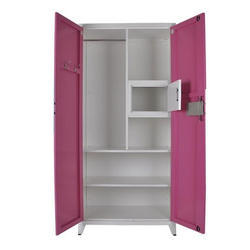 Double Door White and Pink Designer Steel Almirah