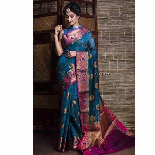 Www Banarasisareeinnepal: Handloom Cotton Banarasi Saree In Greenish Blue And