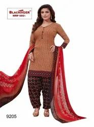 Casual Wear Semi cotton Ladies Printed Suits