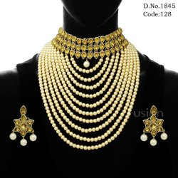 Traditional Crystal Stone Choker Pearl Necklace Set