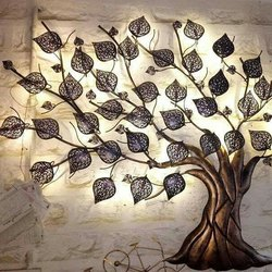 Golden Mild Steel Wall Decorative Tree