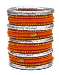 Orange and Silver Silk Thread Bangle Set
