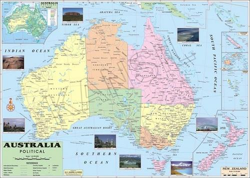 Australia Map Political.Multicolor Laminated Paper Australia Political Map Size 100x70 Rs