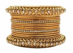 Beautiful Bridal Style Design Golden Plated Bangle