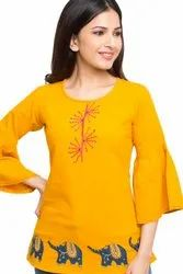Yash Gallery Womens Cotton Patch Work Top