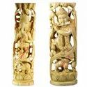 Wooden Standing Shri Krishna Statue Playing Flute & Ganesha - Single Piece Wooden Carving Statue