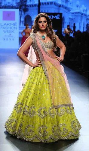 1634f3b8b5d05 Indian Ethnic Designer Thai Silk Heavy Embroidered Bridal Green Lehenga  Choli