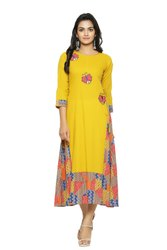 Yash Gallery Women's Cotton Cambric and Rayon Patch Work Flared Kurta