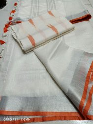 Linen White Sarees With Contrast Piping