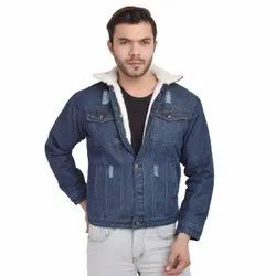 Skupar Damaged Men Denim Jacket With Fur