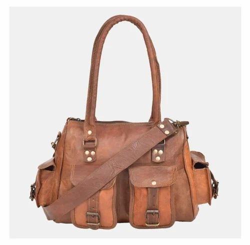 722caa438d Brown Genuine Leather Ladies Bags