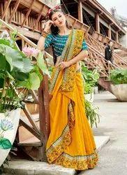 Kesari Exports Yellow Wedding Wear Border Designs Sarees with Blouse Piece