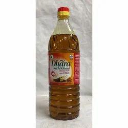 1 Ltr Dhara Kacchi Ghani Mustard Oil Bottle, Packaging Type: Plastic Bottle