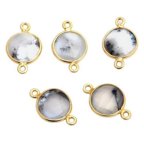 Dendritic Opal Round Bezel Gemstone Connector