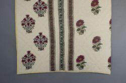 Cotton Quilt Block Print Jaipuri Razai, Mughal Floral Print Vintage Kantha Quilt