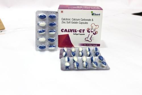 Calvil-CT Calcitriol Calcium Carbonate and Zinc Soft Gelatin Capsules, Packaging Size: 10x10 Capsules