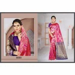 Party Wear Weaving Fancy Chiffon Saree, 5.5 m (separate blouse piece)