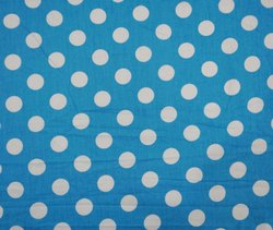 Blue Fast Color Block Print Polka Dot Cotton Fabric