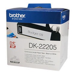 Brother DK-22205 Continuous Paper Label Roll Black on White, 62mm wide