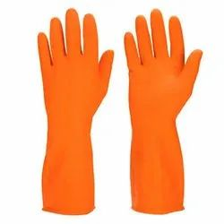 Orange Rubber Industrial Cotton Knitted Safety Gloves