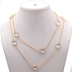 Crystal Gemstone Chain Necklace