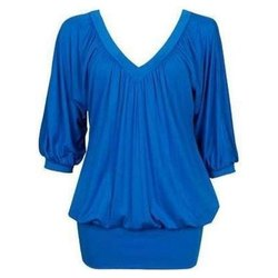Plain 3/4th Sleeve Girls V Neck Georgette Top, Size: S-XL