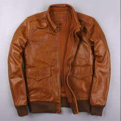 Leo Torresi Stylish Genuine Leather Motorcycle Jacket for Men- Brown