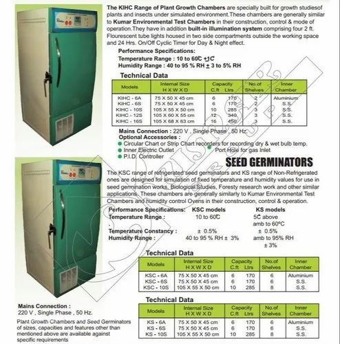 SEED Germinator Chambers With Cooling  Heating And Humidity Control