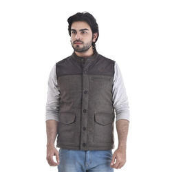 Solid Grey Sleeveless Woven Jacket