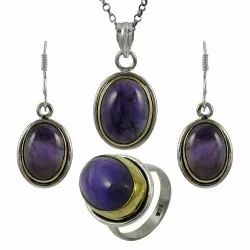 Latest Fashion 925 Sterling Silver Natural Amethyst Rhodium Plating Pendent Set Jewelry