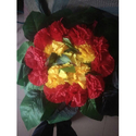 Polyester Green, Red And Yellow Artificial Flower Bouquet