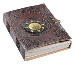 Metal Embossed Leather Cover Diary Notebook W/Latch Closure