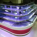 Curved Glass LED Display Counter