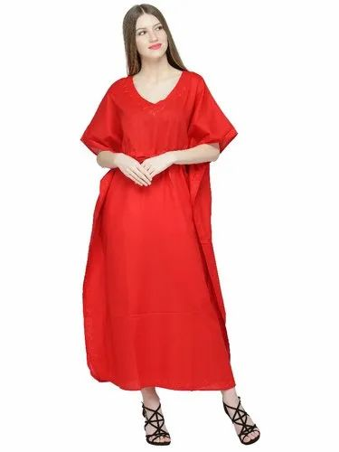 63a612955d7 Skavij Maxi Length Cotton Caftan Embroidered Kaftans For Women Caftan  Nightgown Plus Size - Red