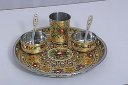 Handicraft steel Thali bowl spoon Set