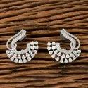 White Rhodium Plated Cz Short Earring 405585