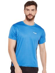 Masch Sports Active Wear Side Pattern - India Blue T-Shirt, Size: L