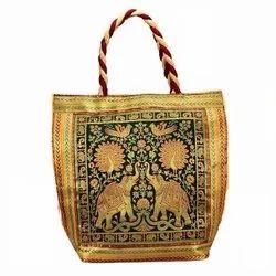 Assorted Party Wear Banarasi Silk Brocade Hand Bag, Packaging Type: 1x1