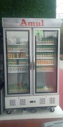 Double Glass Door Upright Display Fridge