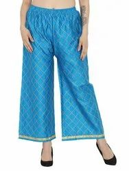 Ladies Cotton Silk Chikan Embroidery Palazzo Pants