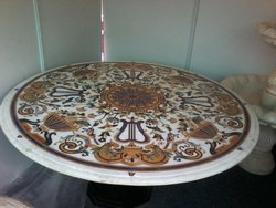 SGM White Marble With Multiple Inlay Table Tops