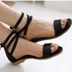 UVS Party Wear Ladies Black Ankle Strap