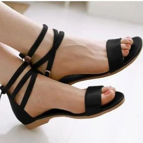 8bdb5f7efae UVS Party Wear Ladies Black Ankle Strap Flat Sandals